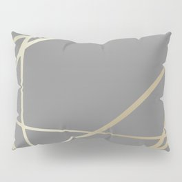Gold and Gray Circles and Swirls Striped Abstract Pattern Pillow Sham