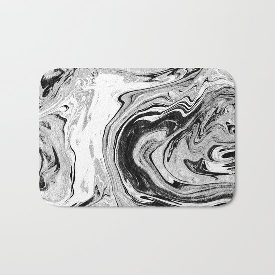 Masuki - black and white minimal spilled ink marbled paper marble texture marbling marble painting Bath Mat