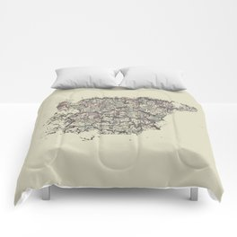 Spain antique map mottled faded digitally modified Comforters