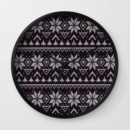 Knitted Christmas pattern in retro style 5 Wall Clock