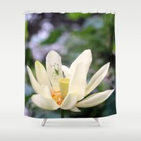 lotus flower Shower Curtains featuring Lotus by Nichole B.