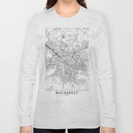 Bucharest White Map Long Sleeve T-shirt
