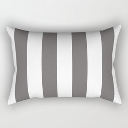 Ash Gray and White Vertical Cabana Tent Stripes Rectangular Pillow