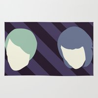 tegan and sara Area & Throw Rugs featuring Tegan and Sarah by Drix Design