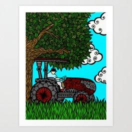Grandpa Tractor Art Print