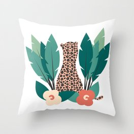trendy tropical design with leopard, flowers and leaves Throw Pillow
