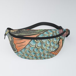 bohemian folk art orange aqua blue japanese good luck koi fish Fanny Pack
