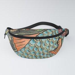 bohemian folk art orange aqua blue japanese good luck koi fish Fanny Pack