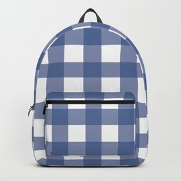 Blue and White Gingham Pattern Backpack