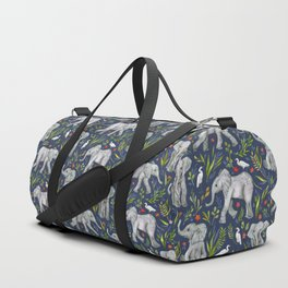 Baby Elephants and Egrets in Watercolor - navy blue Duffle Bag