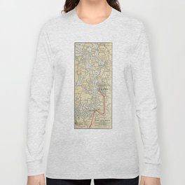 Vintage Map of The Puget Sound (1909) Long Sleeve T-shirt