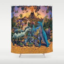 Dinosaurs flee the volcano Shower Curtain