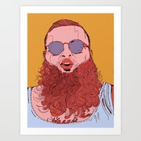 action bronson Art Prints featuring Action Bronson by Dewey Saunders
