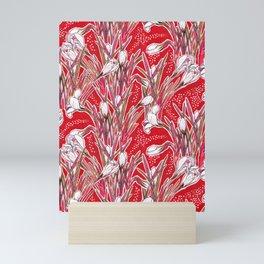 Crocus Flowers, Botanical Floral Pattern, Scarlet Mini Art Print