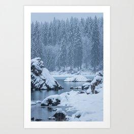 Heavy snow fall lake Fusine, Italy Art Print