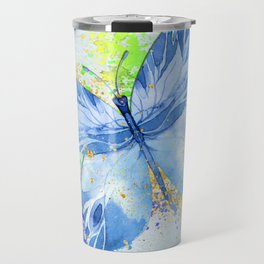 Blue Butterfly Watercolor Rainbow And Gold Travel Mug