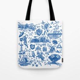 "Zelda ""Hero of Time"" Toile Pattern - Zora's Sapphire Tote Bag"