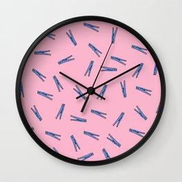 Clothes Pins // Pink Wall Clock