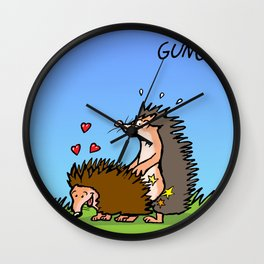 hedgehog making love Wall Clock