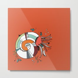 Nautilus Orange Metal Print