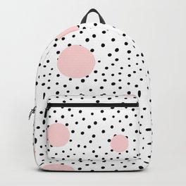 Pink And Black Modern Polka Dot Pattern Backpack