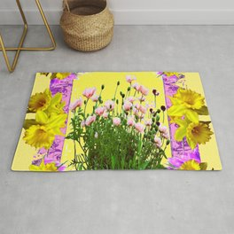 YELLOW DAFFODILS FLOWER GARDEN & PINK POPPIES DESIGN Rug