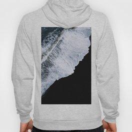 Waves crashing on a black sand beach – minimalist Landscape Photography Hoody