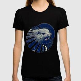 fish otter on a rock vector art dark fog T-shirt