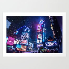 SNOWY NIGHT IN TIME SQUARE Art Print