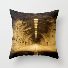 Late Hike Through Yosemite Tunnel Throw Pillow