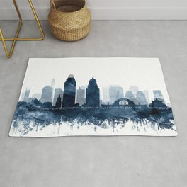 Cincinnati Skyline Blue Watercolor by Zouzounio Art Rug
