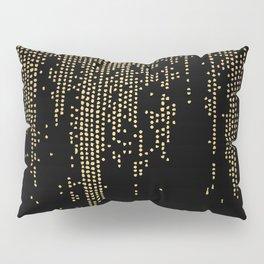 Dripping Gold Dots on Black Pillow Sham