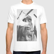 She left pieces of her life White MEDIUM Mens Fitted Tee