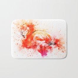 Watercolor Flamingo Splash Bath Mat