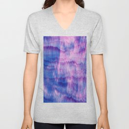 Modern Abstract Electric Blue Pink Watercolor Ikat Unisex V-Neck