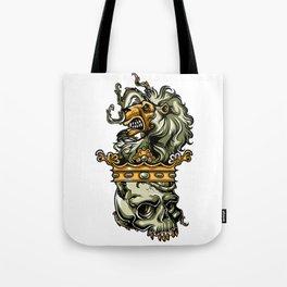 Deathly Lion -  Lion on Dead Skull Tote Bag