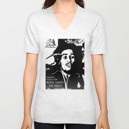 EMANCIPATE YOURSELF FROM MENTAL SLAVERY Unisex V-Neck
