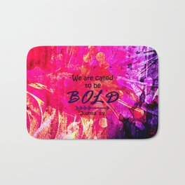 CALLED TO BE BOLD Floral Abstract Christian Typography Scripture Jesus God Hot Pink Purple Fuchsia Bath Mat