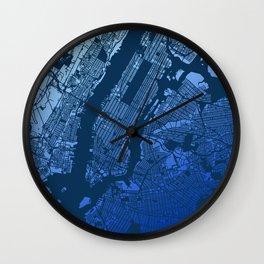 New York City Manhattan Two Tone Map Wall Clock