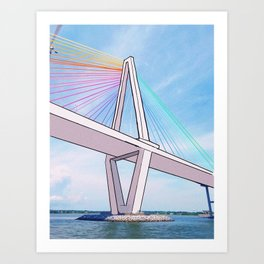 Rainbow Ravenel Bridge Art Print