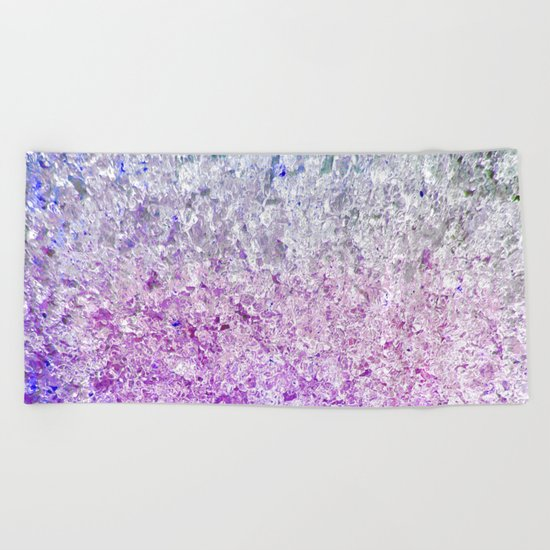 Frozen, close up photograph of snow and ice Beach Towel