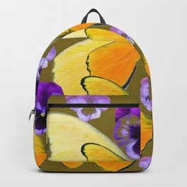 SPRING PURPLE PANSY FLOWERS & YELLOW BUTTERFLIES GARDEN Backpack
