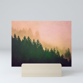 Cascadia Green Trees and Sunset Mini Art Print