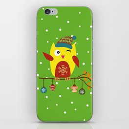 Cute Owl sitting on a branch with christmas baubles, Winter, X-mas Design iPhone Skin