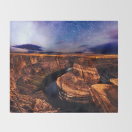 Horseshoe Bend Starseeds - Starry Sky Night at Grand Canyon Arizona Throw Blanket