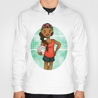 volleyball Hoodies featuring Volleyball Girl by Everybody Illustrated