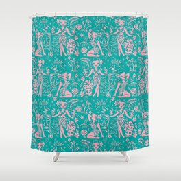 Tiki Temptress in Pink and Turquoise Shower Curtain