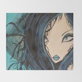 My Mermaid. Original Painting by Jodilynpaintings. Figurative Abstract Pop Art. Throw Blanket
