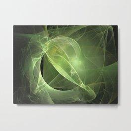 Ethereal Green Fractal Metal Print