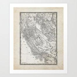 Vintage California and San Francisco Map Art Print